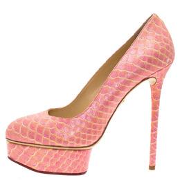 Charlotte Olympia Pink Python Priscilla Platform Pumps Size 40 108327