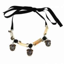 Marni Crystal & Resin Black Ribbon Tie-up Necklace 98575