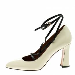 Valentino Beige Patent Leather Bianca Lace Up Pumps Size 37 113467