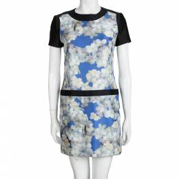 Victoria, Victoria Beckham Multicolor Floral Printed Silk Short Sleeve Dress S 99355