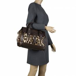 Gucci Dark Brown Animal Print Calf Hair and Leather Heritage Boston Bag 103692