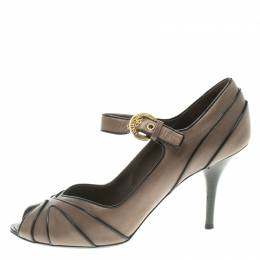 Louis Vuitton Grey Leather Mary Jane Peep Toe Pumps Size 38 104622