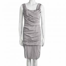 Dolce&Gabbana Grey Silk Ruched Sleeveless Dress M 97992