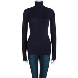 Dolce&Gabbana Navy Blue Ribbed Knit Turtleneck Sweater M 98038