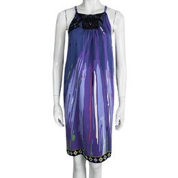 Emilio Pucci Purple Printed Silk Embellished Sleeveless Dress M 95122