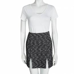 Alexander McQueen Monochrome Tweed Slit Detail Skirt S