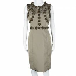Burberry Beige Metal Embellished Sleeveless Dress M 112881