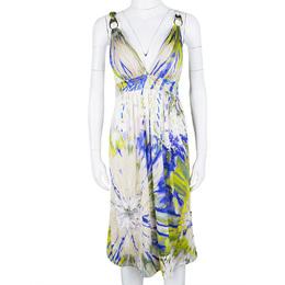 Blumarine Multicolour Embellished Sleeveless Silk Dress M 110924