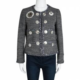 Moschino Grey Embellished Brooch Detail Wool Jacket M 113567