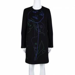 Stella McCartney Black Wool Embroiderd Faces Long Sleeve Melton Shift Dress S 108499