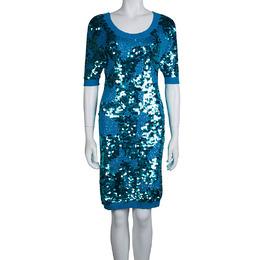 Matthew Williamson Turquoise Silk Rib Knit Embellished Dress M 74212
