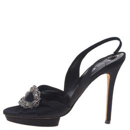 Gina Black Satin Brooch Embellished Slingback Sandals Size 39.5 92889