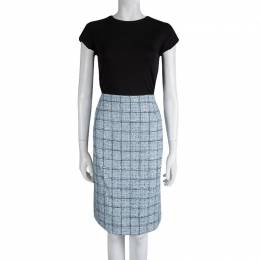 Carolina Herrera Powder Blue Checked Tweed Skirt XL