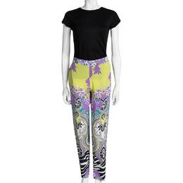 Etro Multicolor Printed Silk Elasticized Waist Pants M