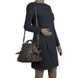 Miu Miu Dark Grey Vitello Lux Leather Bow Top Handle Bag 81948