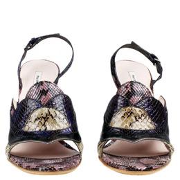 Miu Miu Multicolor Jeweled Python Slingback Sandals Size 36 94115