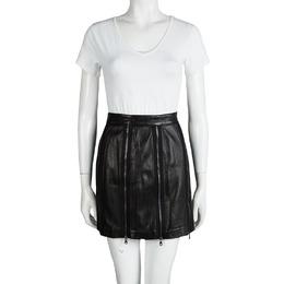 Moschino Black Zip Detail Leather Skirt S 92510