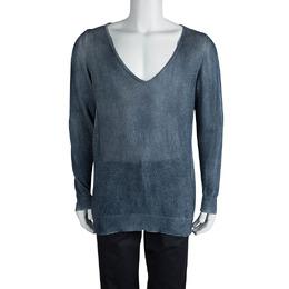 Loro Piana Indigo Knit Washed Effect V-Neck Sweater M