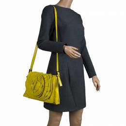 Valentino Fluorescent Yellow Leather Petale Shoulder Bag 93003