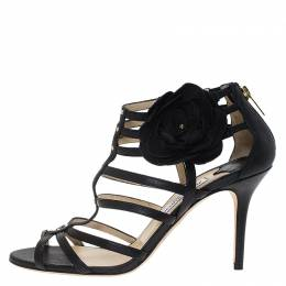 Jimmy Choo Black Leather Opaque Flower Detail Cage Sandals Size 40 67085