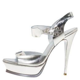 Saint Laurent Metallic Silver Leather Ankle Strap Platform Sandals Size 41 85860