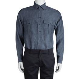 Saint Laurent Paris Grey Checkered Linen Long Sleeve Button Front Shirt S