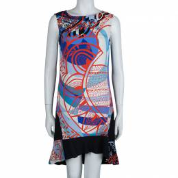 Emilio Pucci Multicolor Printed Crepe Sleeveless Shift Dress M 64171