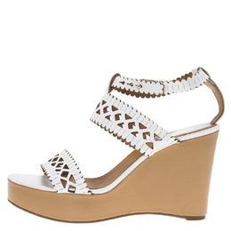 Chloe White Cutout Leather Platform Wedge Sandals Size 40 67059