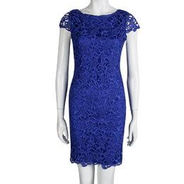 Alice + Olivia Clover Blue Lace Cap Sleeve Dress S 92739