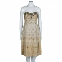 Carolina Herrera Beige Ombre Raw Silk Embellished Strapless Dress M 63817