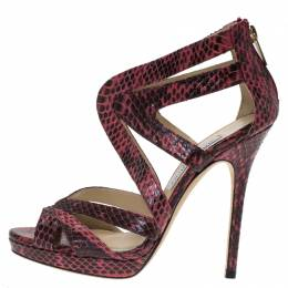 Jimmy Choo Pink Python Collar Platform Sandals Size 36.5 93726