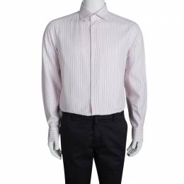 Ermenegildo Zegna Pink Cotton Striped Long Sleeve Button Front Shirt XXL 94505