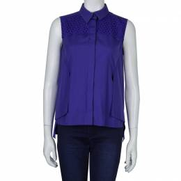 Peter Pilotto Blue Broderie Anglaise Sleeveless Shirt M 60518