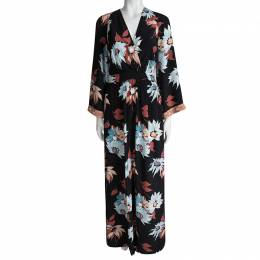 Etro Black Floral Printed Silk Embellished Cuff Detail Maxi Dress S 93337