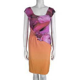 Roberto Cavalli Multicolor Printed Draped Dress S 83068