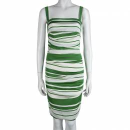 Dolce&Gabbana Green and White Striped Silk Ruched Sleeveless Dress M 83064