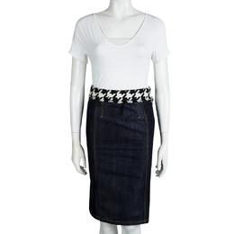 D&G Indigo Dark Wash Houndstooth Waist Detail Denim Skirt S Dandg 91659