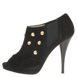 Fendi Black Studded Suede Platform Ankle Boots Size 37.5 56834