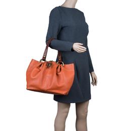 Mulberry Orange Matt Glove Leather Judy Tote Bag 43743