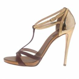 Giuseppe Zanotti Design Cognac & Gold Leather Metal Plated T-Strap Sandals Size 38.5 28984