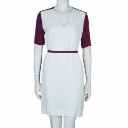 Victoria, Victoria Beckham Purple and White Belted Shift Dress S 59836