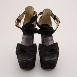 Giuseppe Zanotti Design Black Suede Platform Sandals Size 41 37199