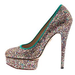 Charlotte Olympia Silver Glitter Priscilla Platform Pumps Size 39.5