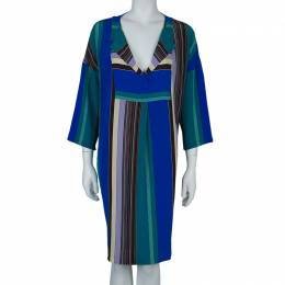 Etro Multicolor Striped Silk Long Sleeve Tunic Dress M 59442