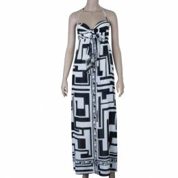 Emilio Pucci Silk Monochrome Maxi Dress M 9423