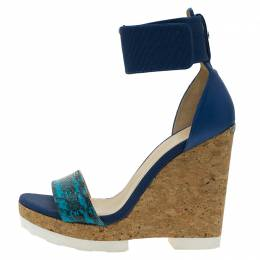 Jimmy Choo Blue Watersnake Leather Neston Ankle Strap Cork Wedge Platform Sandals Size 37.5 58956