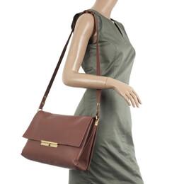 Celine Brown Calfskin Leather Blade Flap Bag 31018
