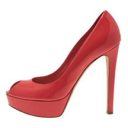 Dior Coral Pink Patent Leather Peep Toe Platform Pumps Size 38 306946