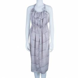 See By Chloe Ruffle Printed Washed Satin Dress S 5703