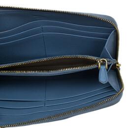 Prada Light Blue Saffiano Metal Oro Side-Zip Wallet 9002